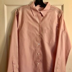 Theory pink button down shirt with pocket